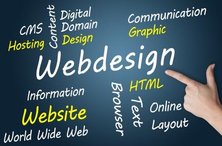 world wide web: Webdesign wordcloud concept illustration on blue-grey background Stock Photo