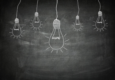 new idea: creativity concept for good ideas on blackboard