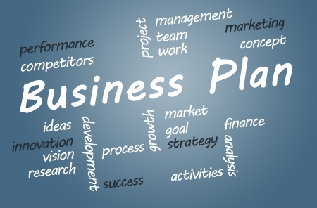 Business Plan wordcloud concept on blue background Stock Photo - 19460203