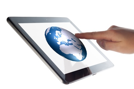 portability: Tablet Computer with a hand pressing world globe icon  Stock Photo