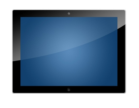 Realistic tablet pc computer with blue screen isolated on white background Stock Photo