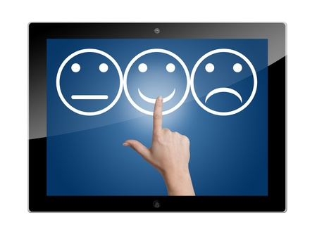 Tablet Computer with feedback rating buttons Stock Photo - 19611020