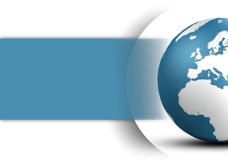 World Globe design concept in blue and space for your text on white background
