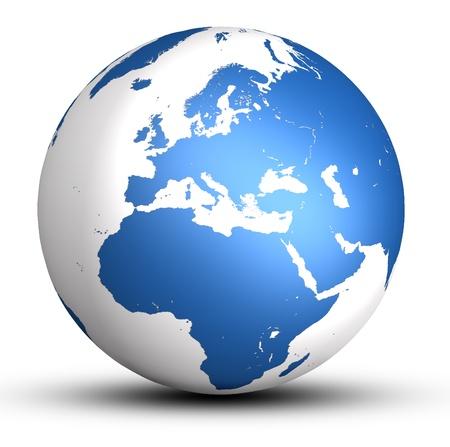 world globe map: blue europe world globe with shadow isolated on white background Stock Photo