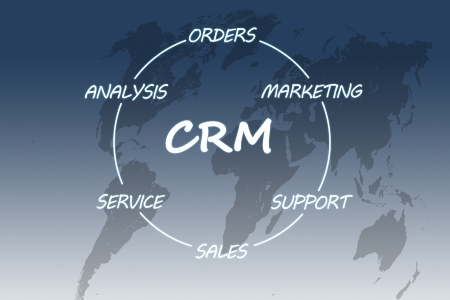 Customer Relationship Management concept on blue background with world map Stock Photo - 19804488