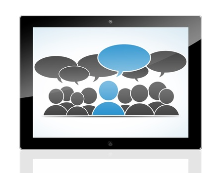 social media concept - conversation people with speech bubbles on a tablet pc photo