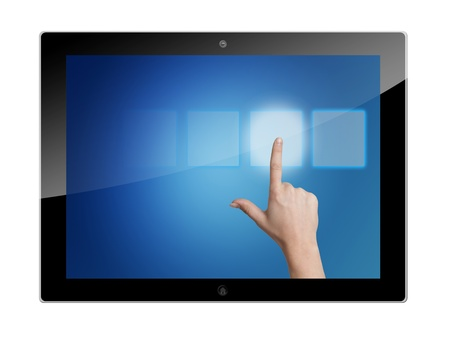 tablet pc with hand pressing a touchscreen button on blue background photo