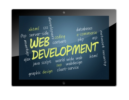 Tablet PC with Web Development wordcloud concept Illustration illustration