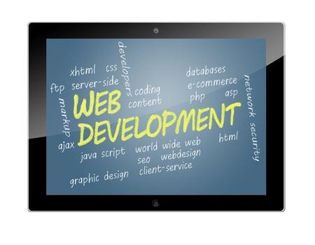 java script: Tablet PC with Web Development wordcloud concept Illustration Stock Photo