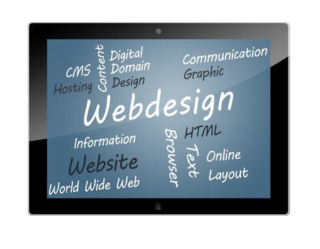 Tablet PC with Webdesign wordcloud concept illustration Stock Illustration - 19804670