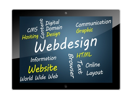 website words: Tablet PC with Webdesign wordcloud concept illustration