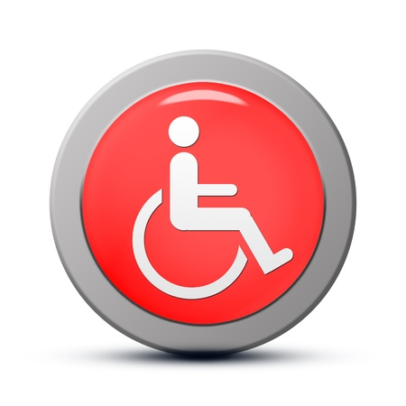 accessibility: Icon series : red round handicap symbol of accessibility button