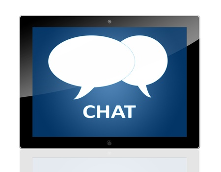 Tablet PC with chat symbols on blue background - isolated on white background Stock Photo - 19804729