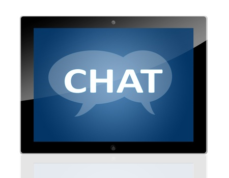 Tablet PC with chat symbols on blue background - isolated on white background photo