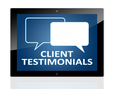Tablet PC with chat symbols and words client testimonials on blue background - isolated on white background