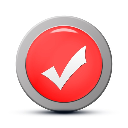 Icon series : red round Validate button Stock Photo - 19804709