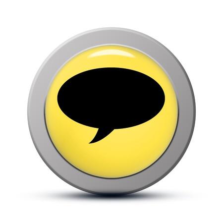 yellow round Icon series : chat button Stock Photo - 20010584