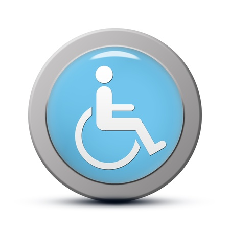 accessibility: blue round Icon series : handicap symbol of accessibility button