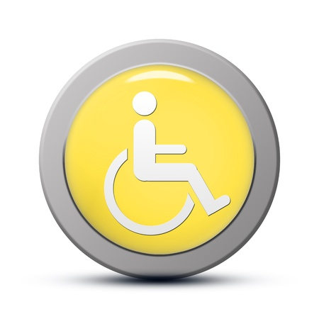 accessibility: yellow round Icon series : handicap symbol of accessibility button Stock Photo