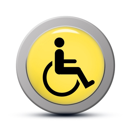 Yellow Round Icon Series Handicap Symbol Of Accessibility Button