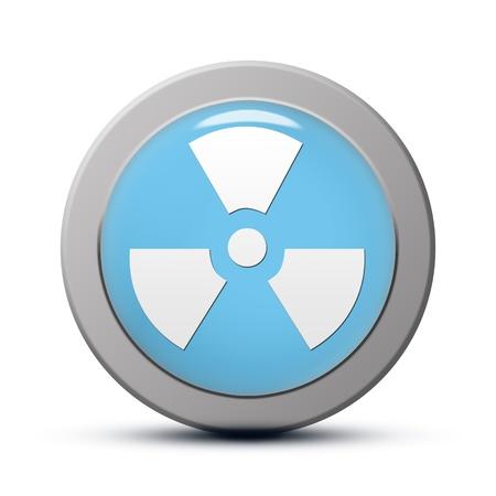 gamma radiation: blue round Icon series : Radiation button Stock Photo