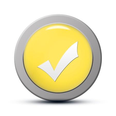 yellow round Icon series : Validate button Stock Photo - 20010586