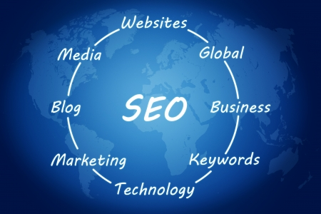 SEO concept on blue background with world map Stock Photo - 20010718