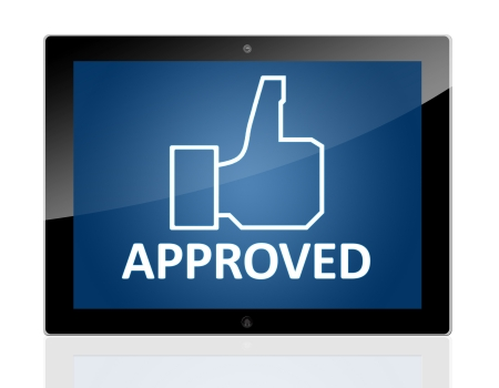 Tablet PC with a hand icon and word Approved on blue background - isolated on white background Stock Photo - 20010698