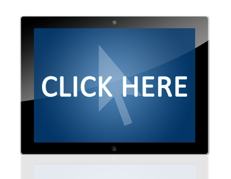 Tablet PC with a mouse cursor icon and words Click Here on blue background - isolated on white background Stock Photo - 20010691