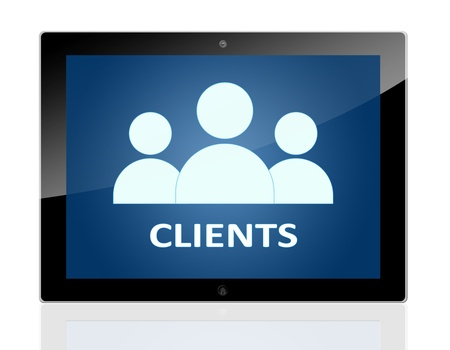 Tablet PC with people icons and word Clients on blue background - isolated on white background Stock Photo