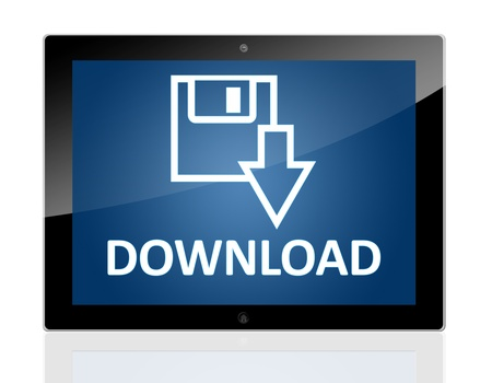 Tablet PC with a Disk Icon and word Download on blue background - isolated on white background Stock Photo - 20010695