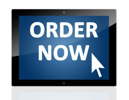 Tablet PC with a mouse cursor icon and words order now on blue background - isolated on white background Stock Photo - 20010683