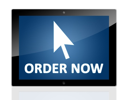 Tablet PC with a mouse cursor icon and words order now on blue background - isolated on white background Stock Photo - 20010685