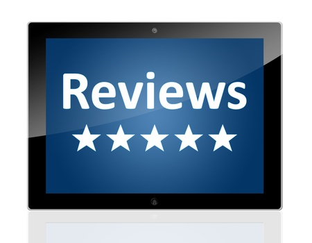 Tablet PC with a star icons and word Reviews on blue background - isolated on white background