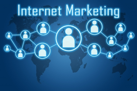 internet marketing concept on blue background with world map photo