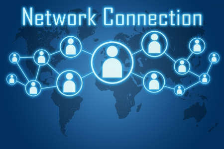 network connection concept on blue background with world map photo
