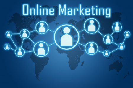 online marketing concept on blue background with world map photo