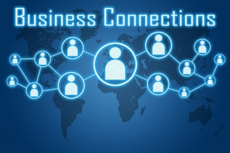 woman hand pressing business connections icon on blue background with world map photo