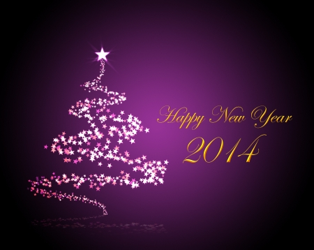 Holiday background for New Year 2014 with a christmas tree Standard-Bild