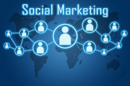 social marketing concept on blue background with world map photo