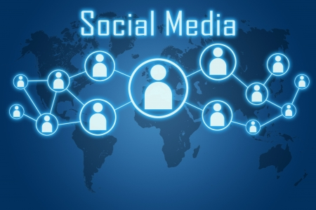 social media concept on blue background with world map photo
