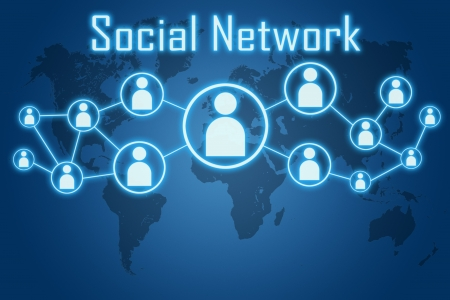 social network concept on blue background with world map photo