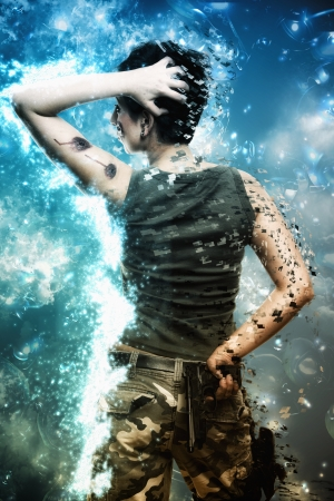 Artistic grunge effect portrait  of a Young female hero fighting and holding a gun and wearing camouflage clothes photo