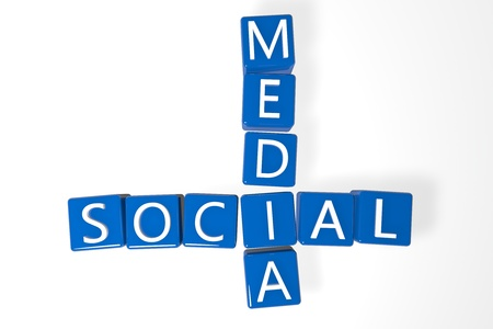 Social media crossword on white background, 3D rendered illustration illustration