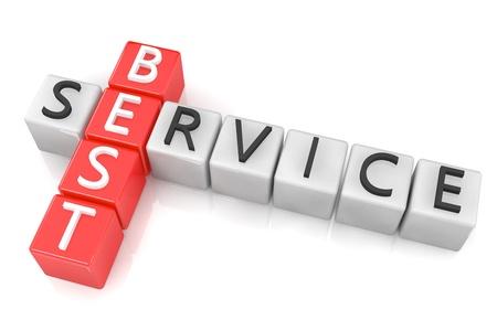 3D Render Crossword concept: Best Service Stock Photo - 20141933