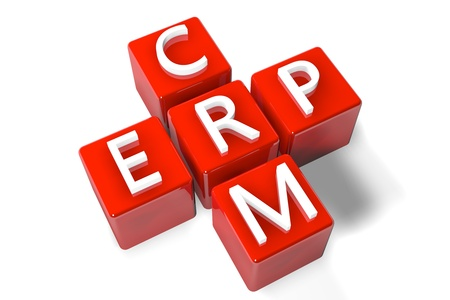 3D Render Crossword concept: Enterprise Resource Planning (ERP) and Customer Relationship Management (CRM)  photo