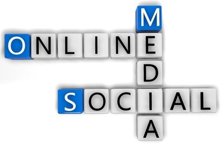 3D Render Crossword concept: Online Social Media photo