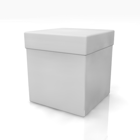 ebox: Blank 3D render box on white background with reflection