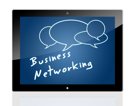 Tablet Computer with Business Network Concept on blue background. photo
