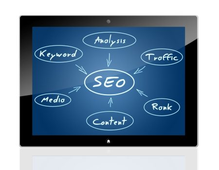 SEO Process concept with blue background on a tablet pc Stock Photo - 20280312
